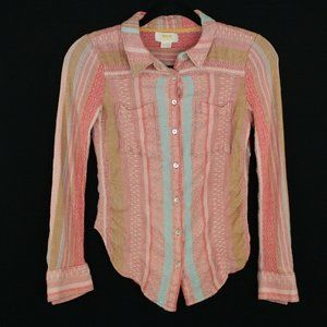 Anthropologie Maeve Long Sleeve Button Stripes 2